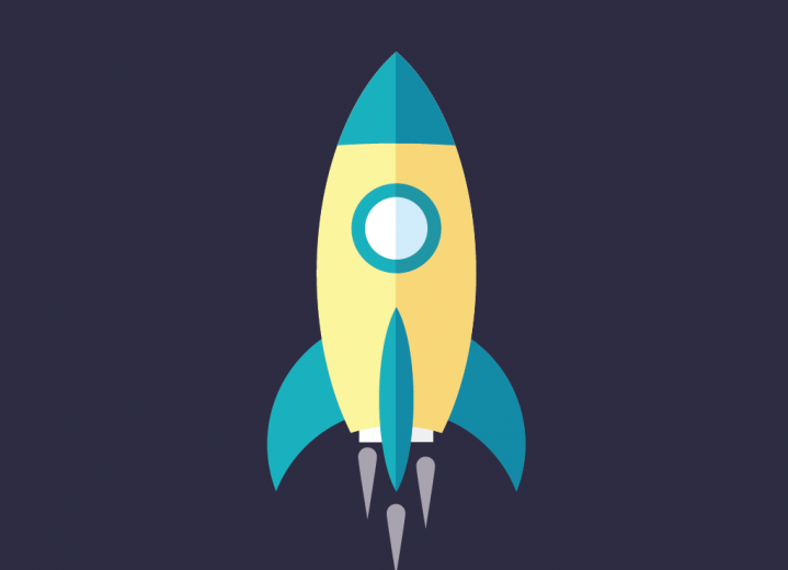 Spaceship rocket flat illustration
