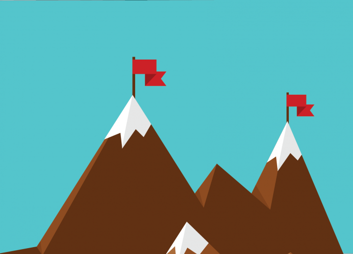 Flat illustration with mountains