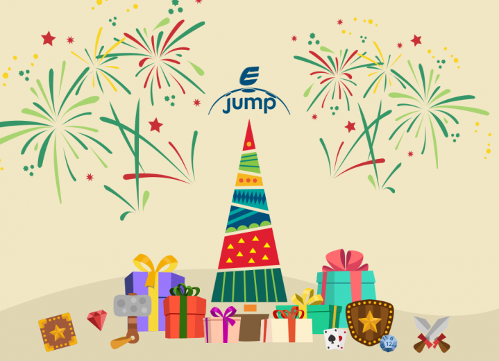 Christmas flat illustration with ejump logo.