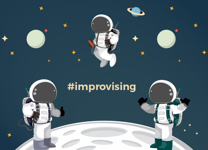 Improv training for business team astronauts illustration