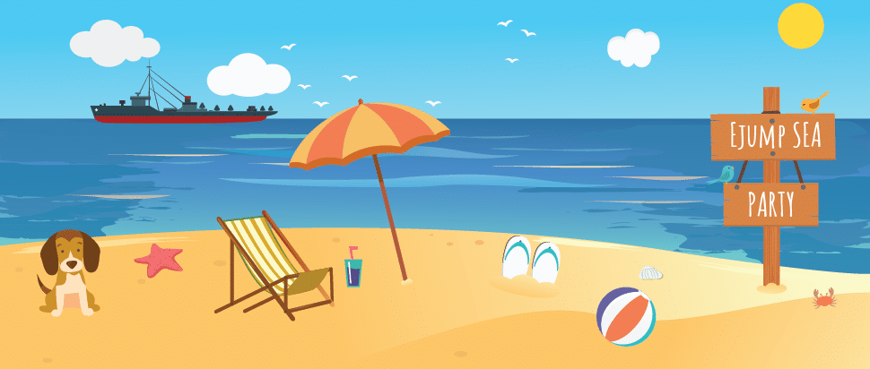 flat illustration about teambuilding at the beach