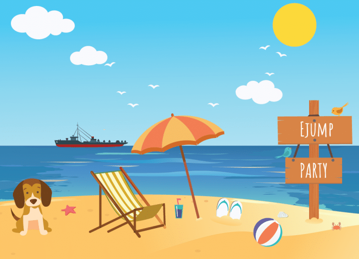 flat illustration about ejump team building at the seaside