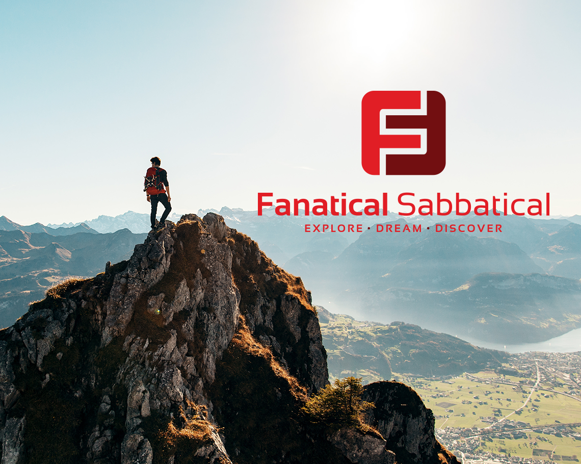 Fanatical Sabbatical logo and mountain landscape