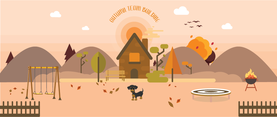 Dog on an autumn day illustration