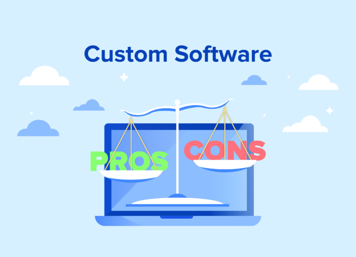 Pros and cons of custom software illustration