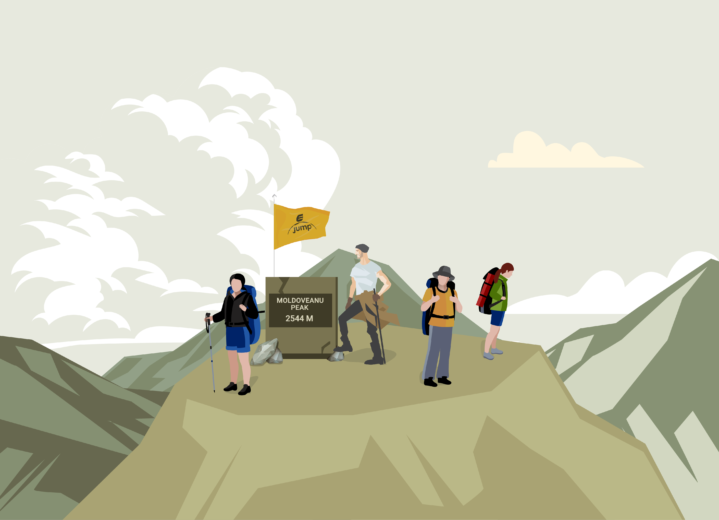 Moldoveanu Peak mountain adventure illustration