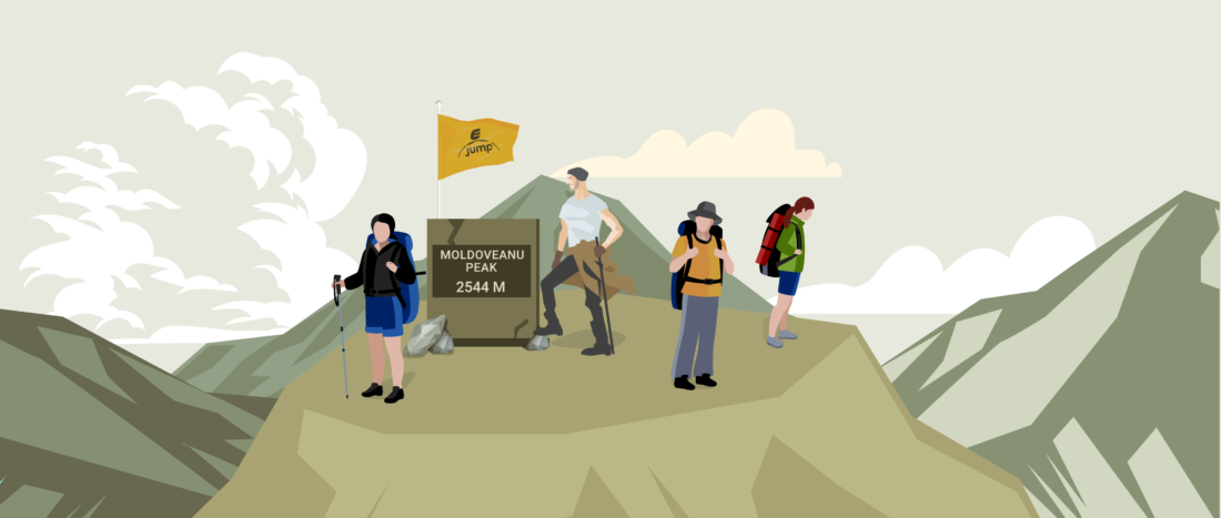 People reaching Moldoveanu Peak 2D illustration