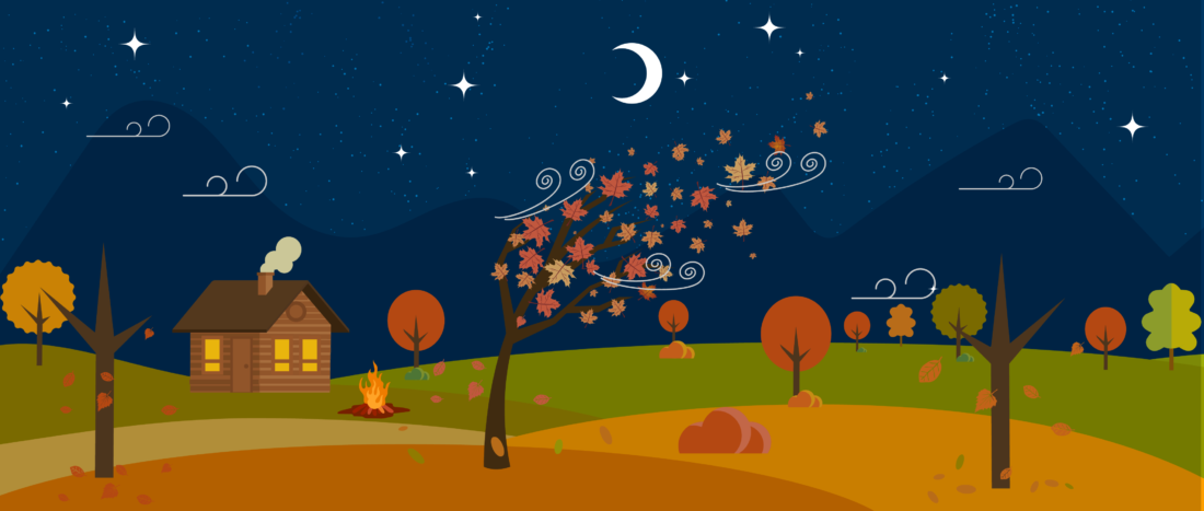 Autumn at night illustration for teambuilding events