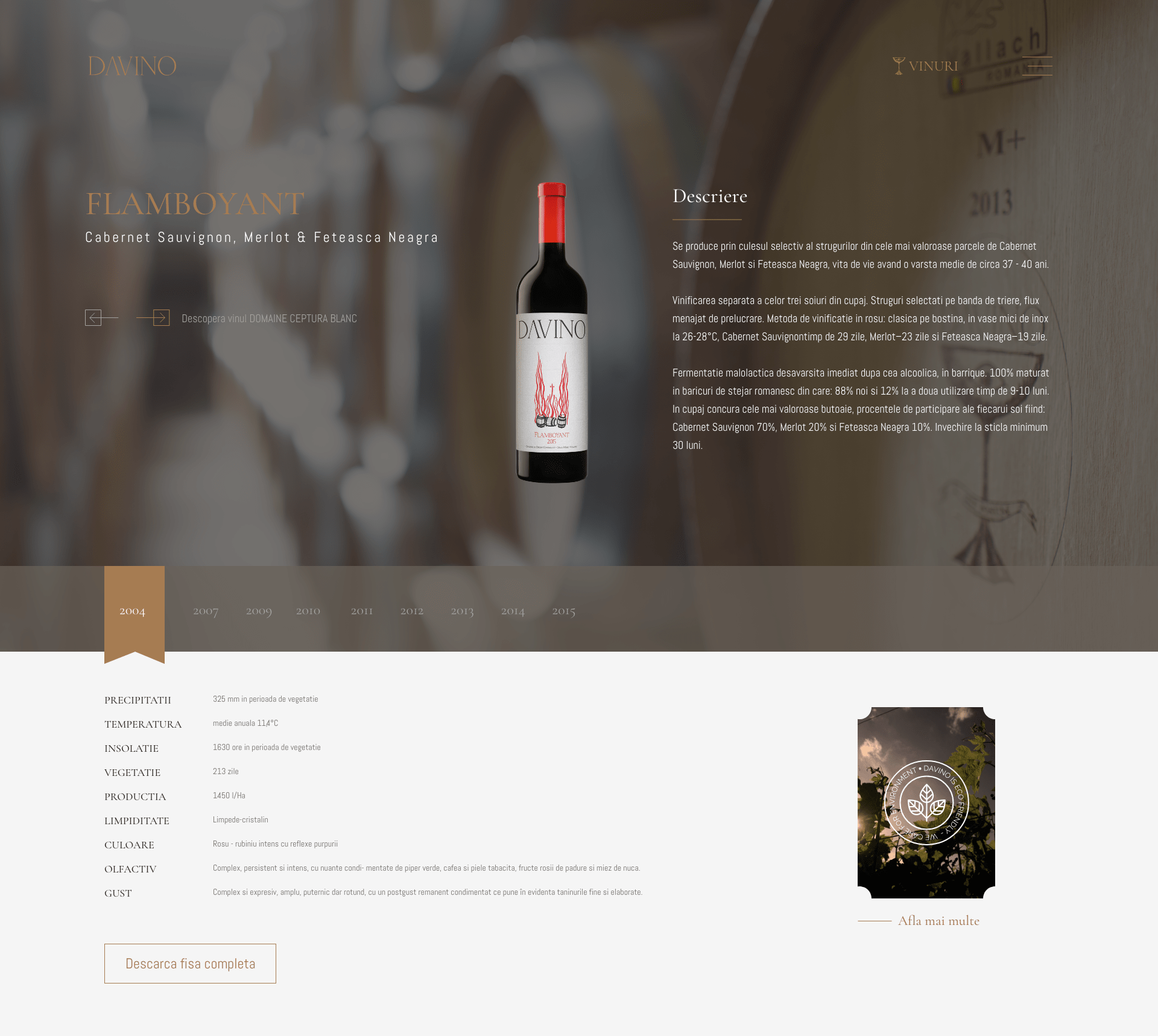 Davino wine brand website design