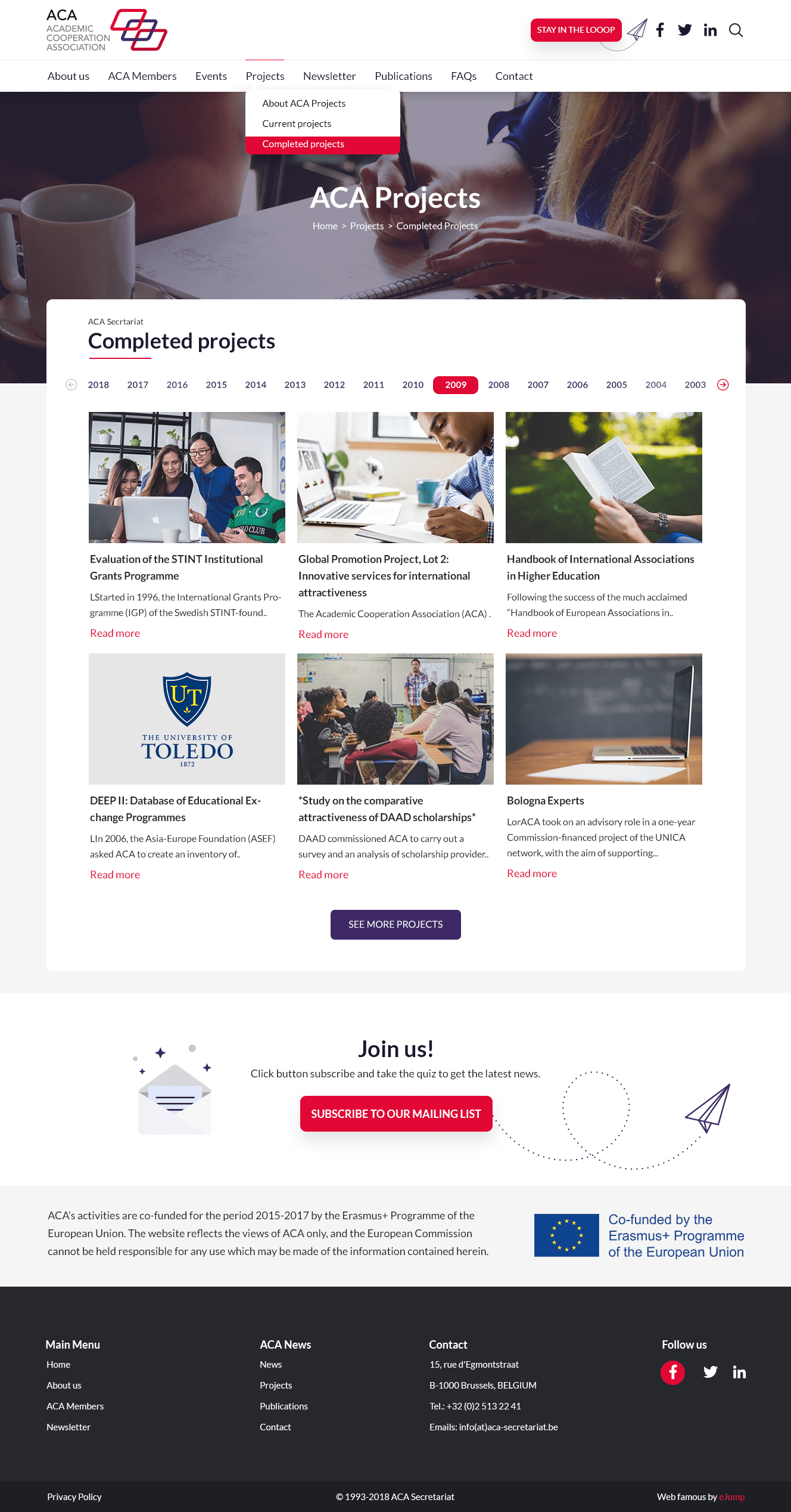 ACA Secretariat projects page redesign
